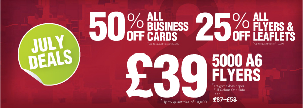 this month get 25 off all flyers and leaflets up to quantities of 10000 and 50 off business cards up to quantities of 20000